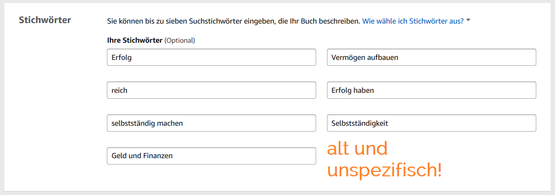 Keywordanalyse auf Amazon KDP 3 - alte Keywords