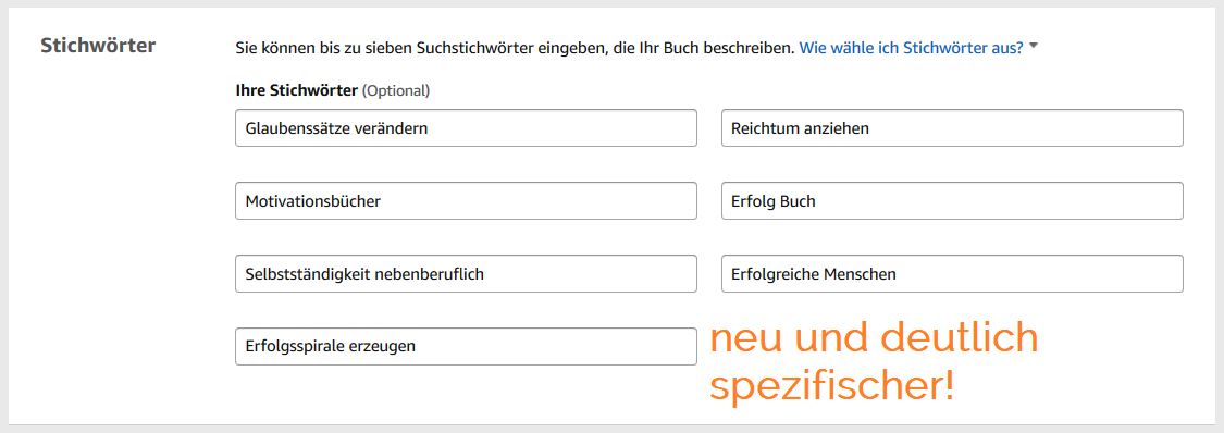 Keywordanalyse auf Amazon KDP 3 - neue Keywords