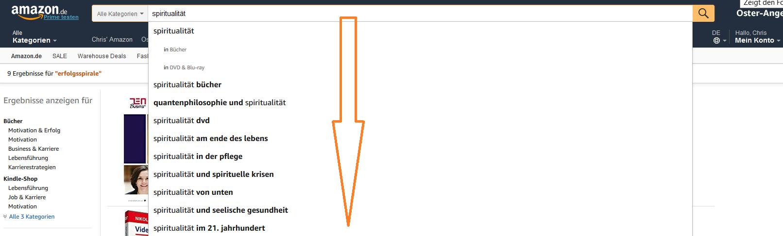 Keywordanalyse auf Amazon KDP 3 - shorttail Keyword Autocomplete
