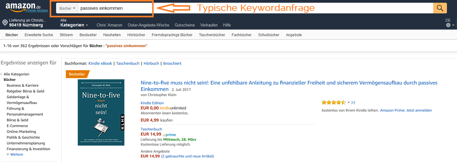 Ranking_Nine-to-Five muss nicht sein_Amazon_passives Einkommen Keyword_Keyword_Amazon KDP