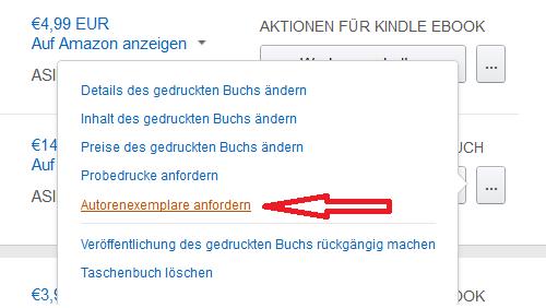 Autorenexemplar bestellen KDP Amazon