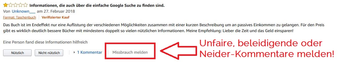 negative unfaire Rezensionen melden Amazon